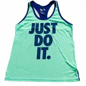Nike Blue Turquoise Just Do It GRAPHIC Shirt Top
